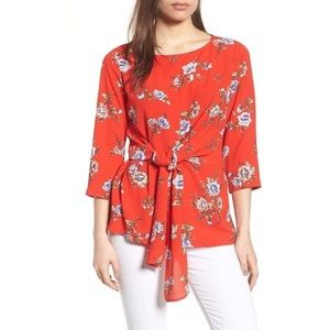 Gibson red floral tie-front crepe top